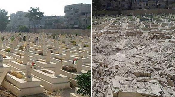 اخبار الامارات العاجلة 020161017040289 داعش يجرف مقبرة شهداء الثورة الفلسطينية بمخيم اليرموك جنوب دمشق أخبار عربية و عالمية
