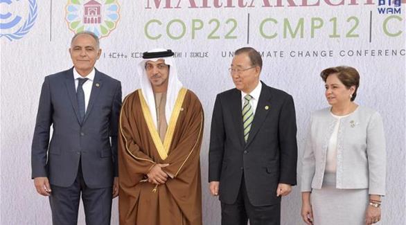 اخبار الامارات العاجلة 0201611150820423 منصور بن زايد يلتقي بان كي مون في مراكش اخبار الامارات