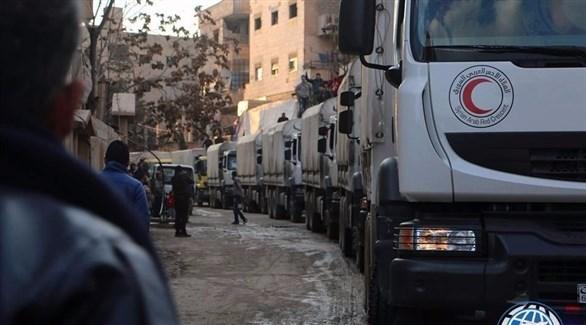 مساعدات الهلال الأحمر السوري إلى الغوطة الشرقية (أرشيف)