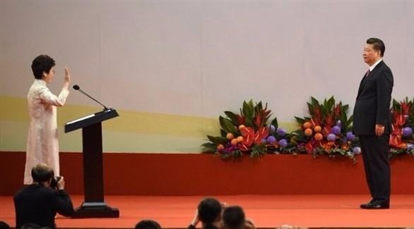 كاري لام تؤدي اليمين أمام الرئيس الصيني (وكالات)
