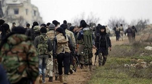 مسحلون من المعارضة السورية في إدلب (أرشيف)