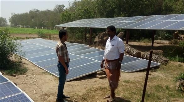 لوحات لتحويل الطاقة الشمسية إلى كهرباء في مزرعة يمنية بصنعاء (أرشيف)