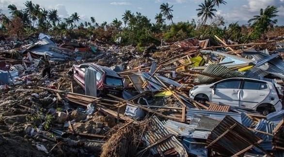 آثار زلزال جزيرة سولاويسي في إندونيسيا في الشهر الماضي (أرشيف)