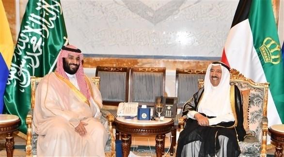 أمير الكويت الشيخ صباح الأحمد الجابر الصباح وولي العهد السعودي الأمير محمد بن سلمان (كونا)