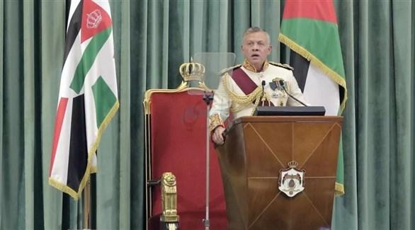 العاهل الأردني الملك عبدالله الثاني متحدثاً في البرلمان (الرأي الأردنية)