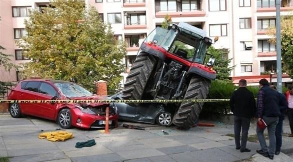 اعتراض جرار زراعي في أنقرة (تويتر)