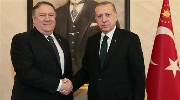 جانب من لقاء أردوغان مع وزير الخارجية الأمريكي مايك بومبيو (المصدر)