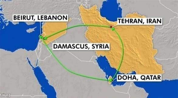 مسار الطائرة الإيرانية التي نقلت أسلحة إلى حزب الله.