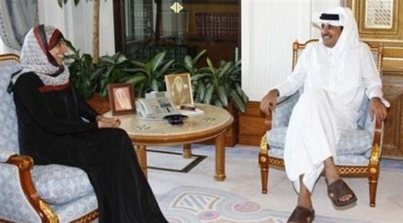 توكل كرمان وأمير قطر الشيخ تميم بن حمد آل ثاني (أرشيف)