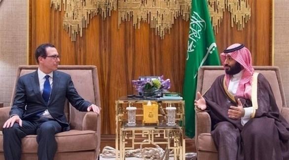 ولي العهد السعودي الأمير محمد بن سلمان ووزير الخزانة الأمريكي  ستيفن منوشين (واس)