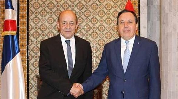 وزير خارجية تونس خميس الجهيناوي ونظيره الفرنسي جان إيف لودريان (أرشيف)