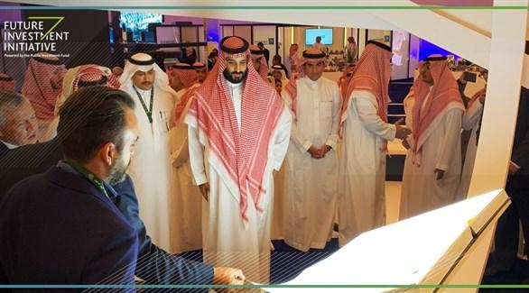 ولي العهد السعودي الأمير محمد بن سلمان عند وصوله إلى مبادرة المستقبل للاستثمار (الإخبارية السعودية)