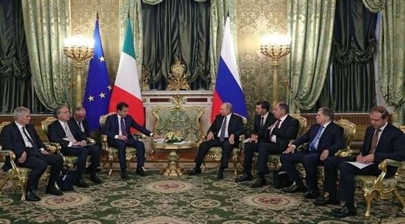 الرئيس الروسي فلاديمير بوتين ورئيس الوزراء الإيطالي جوزيبي كونتي (أرشيف)