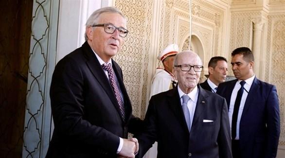 الرئيس التونسي  الباجي قائد السبسي ورئيس المفوضية الأوروبية جان كلود يونكر (تويتر)