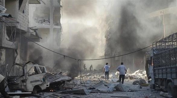 آثار دمار بعد غارة روسية على إدلب (أرشيف)