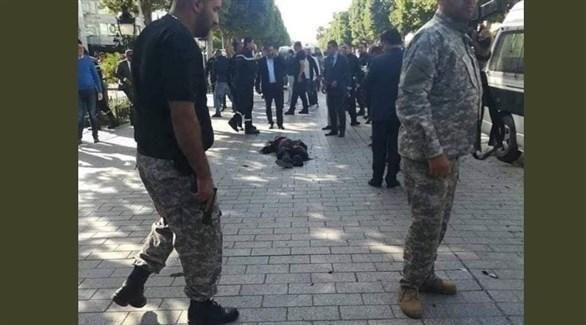 من مكان وقوع انفجار في العاصمة التونسية (تويتر)
