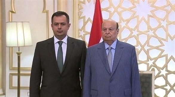 الرئيس اليمني عبدربه منصور هادي ورئيس الحكومة الجديد معين عبدالملك (تويتر)