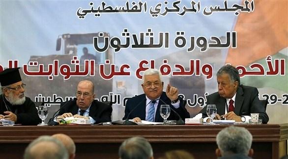 الرئيس الفلسطيني محمود عباس في اجتماع المجلس المركزي الفلسطيني (أرشيف)