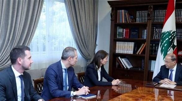سفيرة الاتحاد الأوروبي لاسن والرئيس اللبناني عون (أرشيف)