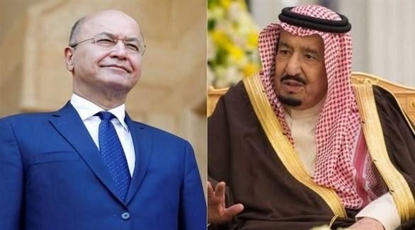 العاهل السعودي الملك سلمان بن عبد العزيز ورئيس العراق الجديد برهم صالح (أرشيف)