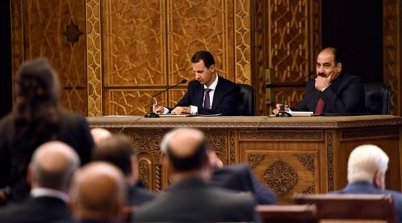 الأسد أمس الأحد في اجتماع حزب البعث (سانا)