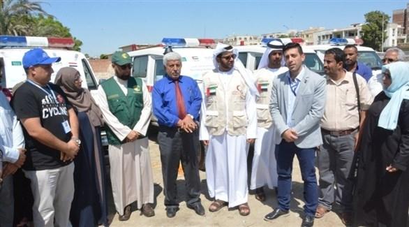 حفل تسليم المساعدات السعودية والإماراتية لليمن (وكالة سبأ)