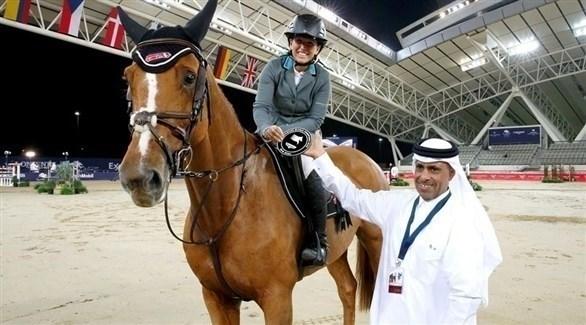 المتسابقة الإسرائيلية دانيال غولدشتين خلال تواجدها على أرض الدوحة (فيس بوك)
