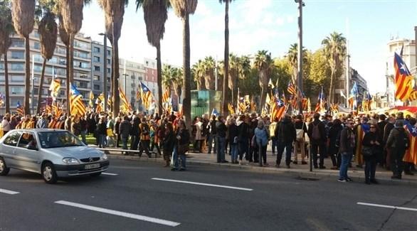 تظاهرة في برشلونة (تويتر)