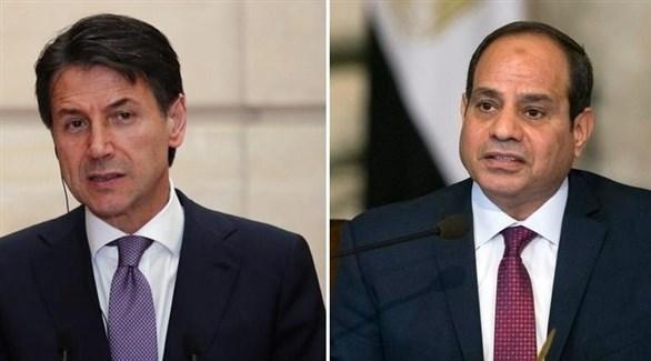 الرئيس المصري عبد الفتاح السيسي ورئيس الوزراء الإيطالي جوزيبي كونتي (أرشيف)