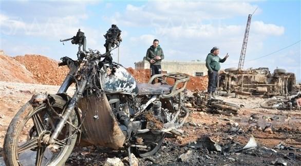 دراجة نارية محطمة نتيجة انفجارها في عفرين (أرشيف)