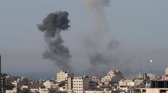 آثار الدخان في غزة بعد غارة إسرائيلية (أرشيف)