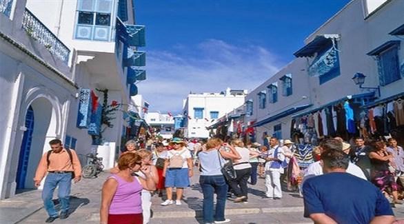 أوروبيون في سيدي بوسعيد التونسية (أرشيف)