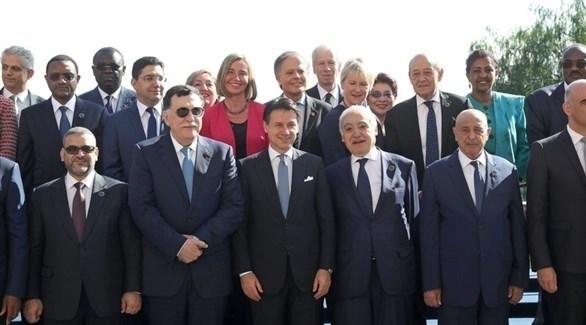 بعض المشاركين في مؤتمر باليرمو حول ليبيا (إ ب أ)