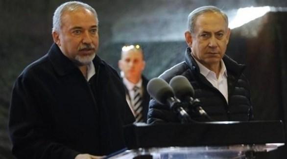 رئيس الوزرا ء الإسرائيلي بنيامين نتانياهو ووزير الدفاع المستقيل أفيغدور ليبرمان (أرشيف)