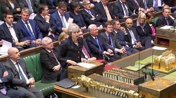 رئيس الحكومة البريطانية تيريزا ماي مداخلة بالبرلمان (أرشيف)