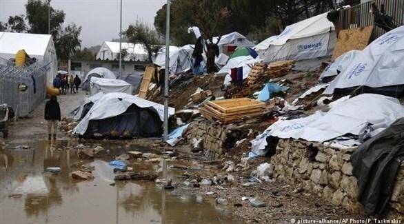 مخيم لاجئين في جزيرة ليسبوس باليونان (أرشيف)