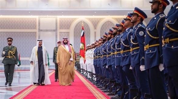 جانب من مراسم استقبال ولي العهد السعودي في أبوظبي (أرشيف)