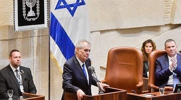 الرئيس التشيكي ميلوش زيمان في الكنيست الإسرائيلي (أرشيف)