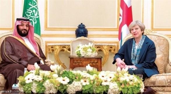 رئيسة الوزراء البريطانية تيريزا ماي وولي العهد السعودي الأمير محمد بن سلمان (أرشيف)