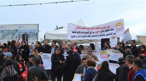 أساتذة ومدرسون في إضراب سابق بتونس (أرشيف)