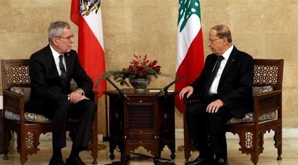 الرئيس اللبناني خلال لقائه الرئيس النمساوي (تويتر)