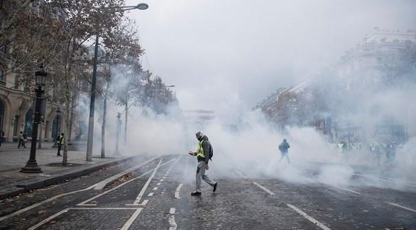 الشرطة الفرنسية تطلق الغاز المسيل للدموع على محتجي السترات الصفراء (إ ب أ)