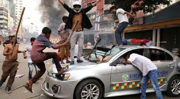 اشتباكات في بنغلاديش بين أنصار الحزبين المتنافسين (تويتر)