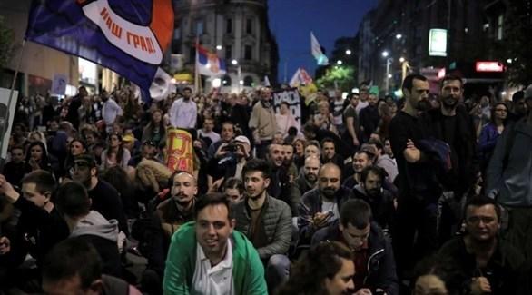 من المظارهات المناهضة للحكومة في صربيا (تويتر)