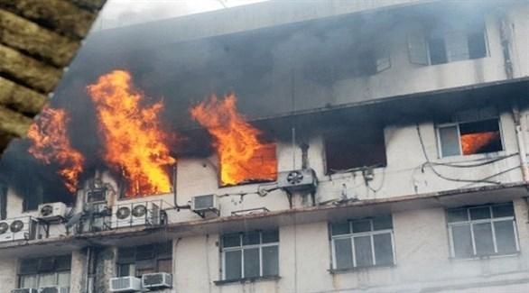 تصاعد ألسنة اللهب من المستشفى الهندي (تايمز أوف إنديا)