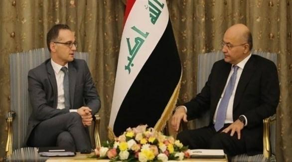 الرئيس العراقي، خلال استقباله وزير الخارجية الألماني، هايكو ماس (أرشيف)