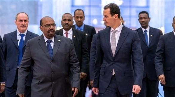 الرئيسان السوري بشار الأسد والسوداني عمر البشير في دمشق (أرشيف)