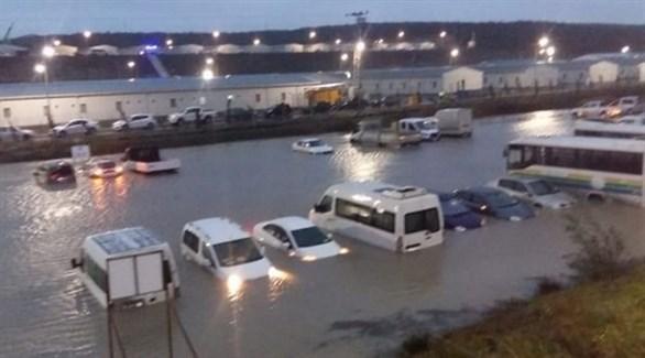 المياة تغمر مساحات واسعة من مطار إسطنبول الجديد (زمان)