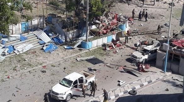 من مكان الانفجار الذي هز العاصمة الصومالية مقديشو اليوم (تويتر)