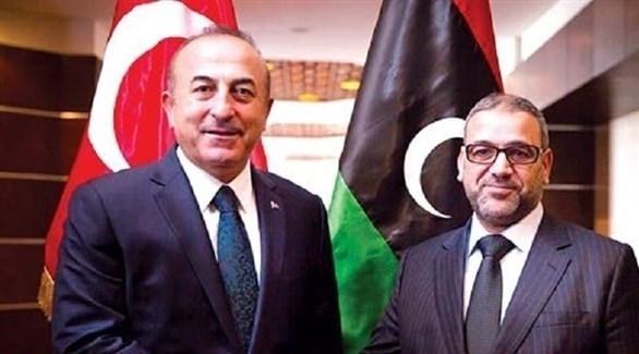 وزير الخارجية التركي تشاوش أوغلو ونظيره الليبي محمد سيالة (بوابة الوسط)
